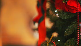 Colorful twinkle lights and bokeh in defocus. Christmas tree toys, romantic Christmas and New Year, Holiday. Christmas tree toys, romantic Christmas and New Year stock video footage