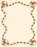 Colorful twisted candy border. Page border made by a colorful twisted pieces of candy Stock Photography