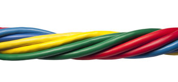 Colorful twisted ethernet network cables. On white background Stock Photos