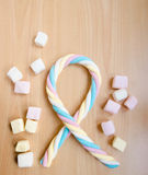 Colorful twisted marshmallow Stock Images
