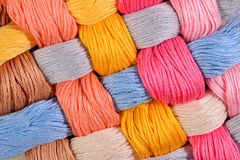 Colorful twisted skeins of floss as background texture Royalty Free Stock Image