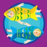Colorful two fish zodiac Stock Photo