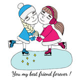 Colorful two girls of friend hold on to the hands on skates Royalty Free Stock Photo