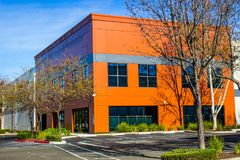 Colorful Two Story Orange Office Building Stock Photography