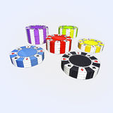 Colorful types of poker chips isolated Royalty Free Stock Photography