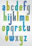 Colorful typescript, comic lower case letters with white outl Royalty Free Stock Photo