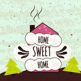 Colorful typographic motivational poster about the love of home and comfort. Home sweet home. Vector Royalty Free Stock Photography