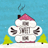 Colorful typographic motivational poster about the love of home and comfort. House sweet house on a fabulous winter background. Ve Stock Images
