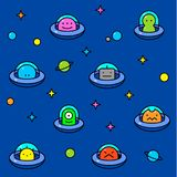 Colorful UFO aliens cartoon pattern. UFO aliens collection, different colorful extraterrestrials in flying saucers with stars and planets, thin line cartoon Stock Photo