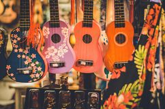 Colorful ukeleles in a hawaiian shop