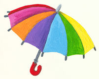 Colorful umbrella. Acrylic Illustration of colorful umbrella Royalty Free Stock Photos