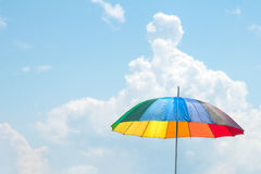 Colorful parasol. Colorful beach umbrella or parasol against the sunny sky Stock Images