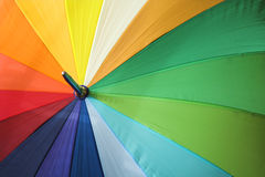 Colorful umbrella. Close up of rainbow colouered umbrella royalty free stock photos