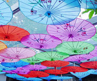 Colorful umbrella. Chinese traditional colorful umbrella on the roof Stock Images