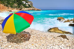 Colorful umbrella on the beach Royalty Free Stock Images