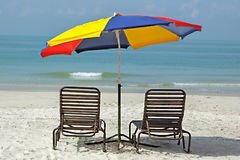 Colorful umbrella on beach. Colorful umbrella on empty beach Royalty Free Stock Photos