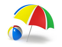 Colorful umbrella and beach ball. Isolated on white background stock illustration