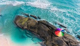 Colorful of umbrella on the beach. stock image