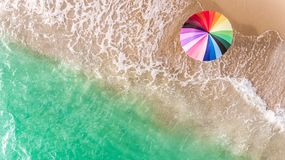 Colorful of umbrella on the beach. stock photo