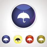 Colorful umbrella button icon set Royalty Free Stock Photo
