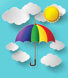Colorful umbrella flying high in the air. Paper cut style royalty free illustration