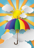Colorful umbrella flying high in the air. With sun shine royalty free illustration