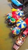 Colorful umbrella of the food boat at Ampawa Royalty Free Stock Photo