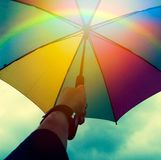 Colorful umbrella. In the Hand stock photography