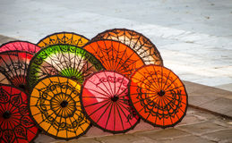 Colorful umbrella. Colorful handmade umbrella for sale Royalty Free Stock Image