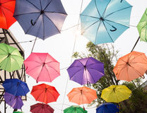colorful umbrella hanging on the rope Royalty Free Stock Photography