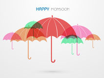 Colorful umbrella for Happy Monsoon. Stock Image