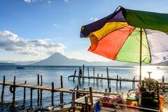 Colorful umbrella at Lake Atitlan, Guatemala Royalty Free Stock Image