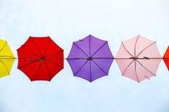 Colorful umbrella lined up as seen from below towards the sky Royalty Free Stock Photography