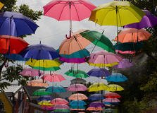 Colorful umbrella. Outdoor hanging colorful umbrella background Royalty Free Stock Image