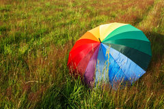Colorful umbrella outdoors stock photography
