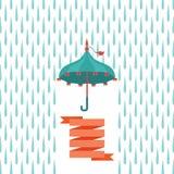 Colorful umbrella over rain drops Stock Images