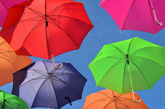 Colorful Umbrella's floating Royalty Free Stock Image
