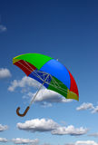 Colorful umbrella in the sky Stock Images
