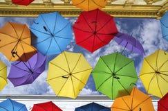 Colorful umbrella street decoration. stock photos