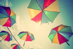 Colorful umbrella street decoration with sunlight. Stock Photography