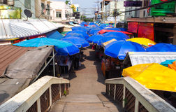 Colorful umbrella of street food shop Ampawa royalty free stock photography