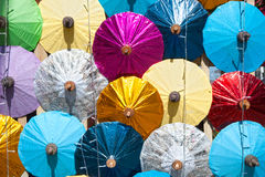 Colorful umbrella texture on the wall. Stock Image