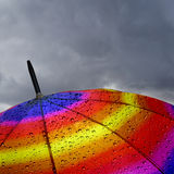 Colorful umbrella top with raindrops Stock Image