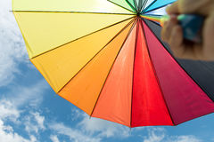 Colorful umbrella under blue sky Stock Image