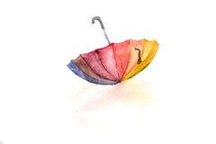 Colorful umbrella on white background. Watercolor sketch of colorful umbrella on white background royalty free illustration