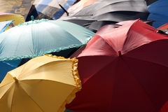 Colorful umbrellas. Overhead view of colorful opened umbrellas royalty free stock images