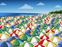 Colorful umbrellas. Beach with a lot of colorful umbrellas Royalty Free Stock Photos