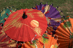 Colorful umbrellas. Thai hand painting umbrellas Stock Photos