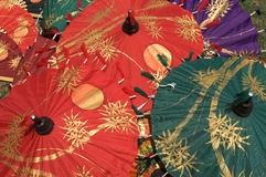 Colorful umbrellas. Thai hand painting umbrellas Royalty Free Stock Photo
