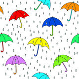 Colorful umbrellas. Seamless umbrella and raindrops pattern. Simply drop swatch into swatch palette to create the fill royalty free illustration